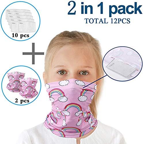 Lomelomme 2 Stück Multifunktionstuch mit 10 Stück Aktivkohlefilter Kinder Kopftuch Sport-Halstuch Bandana Mundschutz Schlauchtuch Halstücher für Jungen und Mädchen (D)