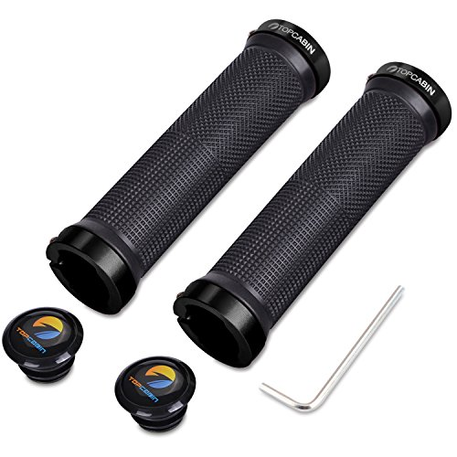 TOPCABIN Double Lock on Locking Bicycle Handlebar Grips Cycle Bicycle Mountain Bike BMX Floding (Black)