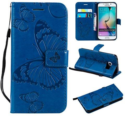 WindTeco Funda Samsung Galaxy S6 Edge, Mariposa Patrón Funda Piel Libro Shock-Absorción Carcasa Cartera Flip Billetera con Soporte y Ranuras de Tarjeta para Samsung Galaxy S6 Edge, Azul