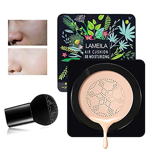 BB Cream, CC Crema Hidratante Impermeable Base Líquida, Base de Maquillaje, Control de Aceite Base Líquida,24H Base de Maquillaje de Larga Duración, Tipo Hongo Puff(Tono de piel natural) (marfil)