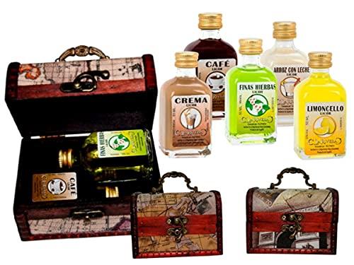 Lote de 7 Packs de 2 Botellas de Licores la Rivera (A Elegir) en Baúles de Madera