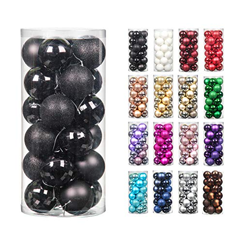 24pcs 2.36in Christmas Decoration Balls Shatterproof Color Set Ornaments Balls for Festival Wedding Home Party Decors Xmas Tree Hanging (60mm Black)