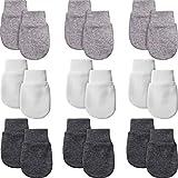 9 Pairs Newborn Baby Mittens Infant Toddler Gloves No Scratch Mittens Unisex Gloves for 0-6 Months Baby Boys Girls (White, Gray, Black-Gray)
