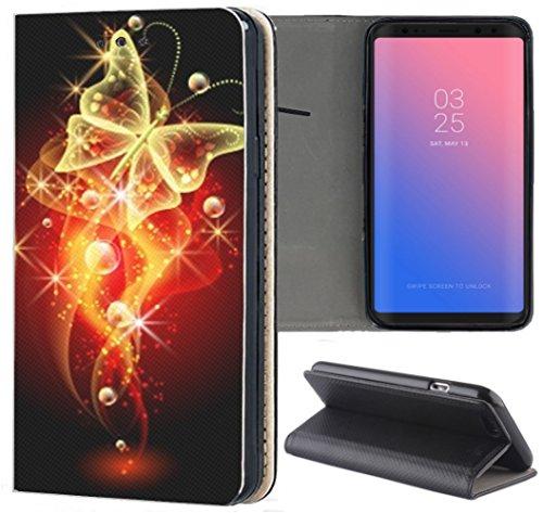 Samsung Galaxy S3 / S3 Neo Hülle Premium Smart Einseitig Flipcover Hülle Samsung S3 Neo Flip Case Handyhülle Samsung S3 Motiv (274 Schetterling Schwarz Rot Gelb)