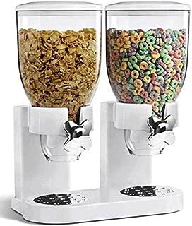 Dispensador de cereales ENYAA, doble transparente, con bandeja integrada para frutos secos, cereales, alimentos para mascotas, dulces y también para el almacenamiento de alimentos. (Blanco grande)
