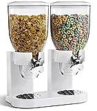 Dispensador de cereales ENYAA, doble transparente, con bandeja integrada para...