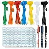 SelfTek 140 bridas con cremallera coloridas para marcadores con bridas con cierre automático con 256 etiquetas de cable y 3 rotuladores