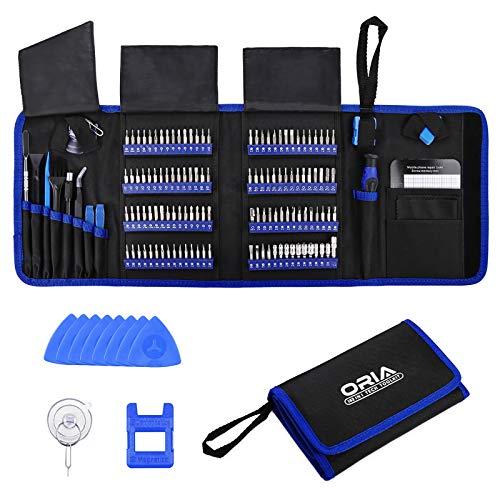 ORIA Präzisions Schraubendreher-Set, 142-in-1-Magnet-Treiber-Kit Professionelles Reparatur-Tool-Kit mit Tragbarer Tasche für iPhone, iPad, PC, Computer, MacBook, Tablet, Spielekonsole, Uhr - Blau