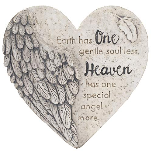Transpac Earth Has One Gentle Soul Less Grey Heart 10 x 10 Cement Decorative Outdoor Garden Stone