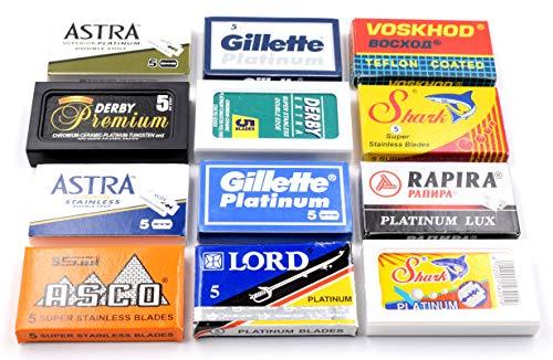 Astra-Derby-Shark-Voskhod-Rapira-Lord 60 Quality Double Edge Razor Blades Sampler (12 different brands)