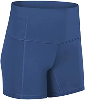 Yoga Shorts Female Hips High Waist Casual Sports Shorts Tight Elastic Fitness Shorts,Blue(6)