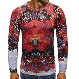 CFWL Camisa De Base De La Camiseta De Los Hombres De Hip-Hop 3D Huecos De Primavera Y OtoñO Acolchada...