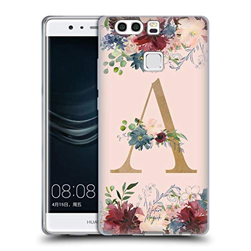 Official Nature Magick Letter A Flowers Monogram Rose Gold 1 Soft Gel Case Compatible for Huawei P9 Plus