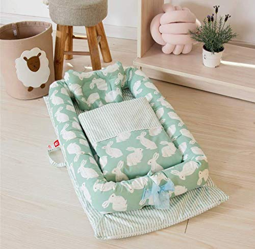 PONOA BC-6 ベッドインベッド(防水シーツ付き)枕 掛け布団付き 布団セット 添い寝ベッド ベビー布団 ベビーベッド ベッドガード (うさぎ・グリーン)