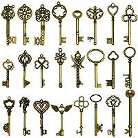 24 piezas grandes llaves de esqueleto de bronce antiguo llave rústica para la decoración de la boda Favor, colgantes del collar, fabricación de la joyería