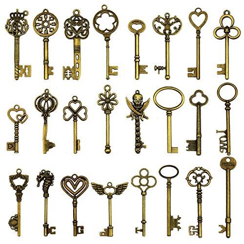 24 Stück große antike Bronze Skelett Schlüssel rustikalen Schlüssel für Hochzeit Dekoration gefallen, Halskette...
