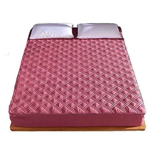 QIANGU Topper Materasso Coprimaterasso con Cerniera Tessuto Spazzolato Rimovibile E Lavabile Pelle-Friendly Assorbimento del Sudore (Color : Dark Pink, Size : 180X200+20cm)