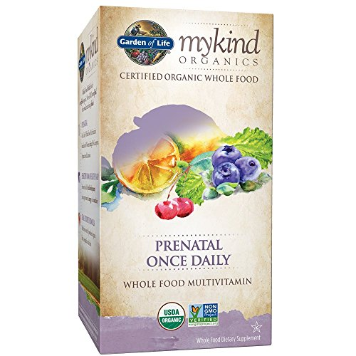 Garden of Life Organic Prenatal Multivitamin Supplement with Folate - mykind Prenatal Once Daily Whole Food Vitamin, Vegan, Organic, Non-GMO & Kosher, 90 Tablets