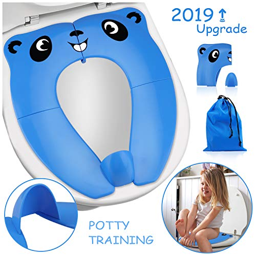 2019 Upgrade Portable Potty Seat with Splash Guard for Toddler, Foldable Travel Potty Seat with Carry Bag, Non-Slip Pads Toilet Potty Training Seat Covers for Baby, Toddlers and Kids (Blue)