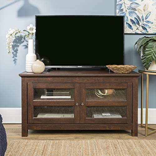 """Walker Edison Furniture Simple Wood Stand for TV's up to 48"""" Living Room Storage, Traditional Brown"""
