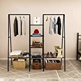 Metal Garment Rack, Free Standing Closet Storage Organizer w/ 6 Shelves & Hanging Bar,Metal Garment Rack Heavy Duty Indoor Bedroom Rack (Black), Open Wardrobe Rack for Hanging Clothes and Storage,