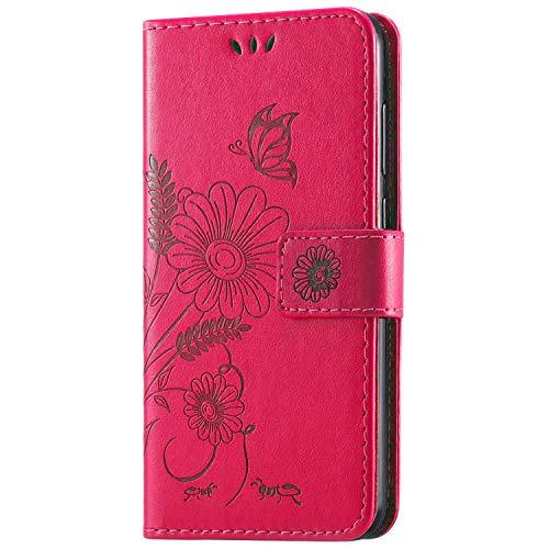 kazineer Funda Huawei P8 Lite 2017, P8 Lite 2017 Funda Cuero Flor Patrón Cartera Carcasa para Huawei P8 Lite 2017 Caso – Rosa roja