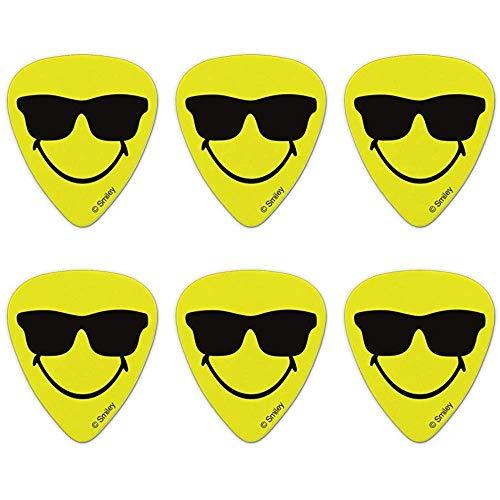Smiley glimlach gelukkig zonnebril geel gezicht nieuwigheid gitaar plukt medium gaas - set van 6