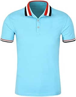 SanVera17 Men Casual Classic Retro Tri-Color Collar Solid Color Polo Shirts Cotton Short Sleeve T-Shirt