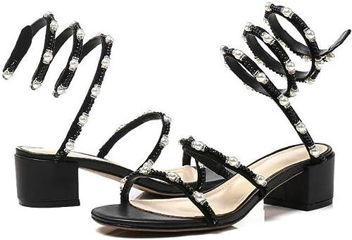 Lixibei Sandales pour Femmes, Chunky Block Talon Pompes Robe Sandales Ankle Strap Ville Classifié Confort Strappy Strass Ouvert à,noir,38