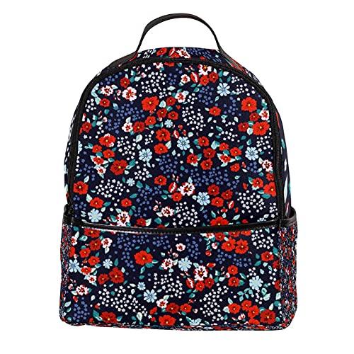 FURINKAZAN Pequeña flor roja PU cuero mini mochila monedero moda viaje mochila