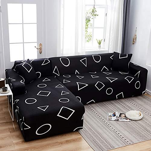 Funda de sofá elástica con Estampado Floral para el Protector de la Funda de la Silla de la Sala de Estar Compre Dos Fundas separadas para el sofá en Forma de L A28 de 4 plazas