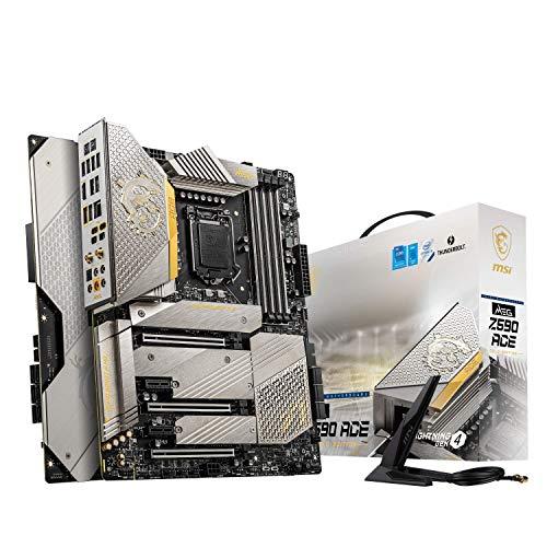 MSI MEG Z590 ACE GOLD EDITION - Placa base ATX Intel 11ª generación, LGA 1200, Mystic Light, 16+2+1 fase 90A SPS, DDR4-Boost (5600 MHz/OC), 2x PCIe 4.0 x16, 4x M.2 Gen 4/ 3x4, Wi-Fi 6E