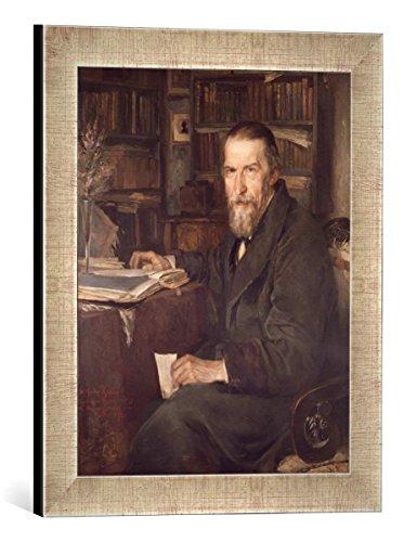 Kunst für Alle '–Fotografía enmarcada de Hans Fechner Bildnis Wilhelm Raabe, de impresión handgefertigten imágenes de Marco, 30x 40cm, Plata Raya
