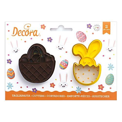 Kit 2 TAGLIAPASTA di Pasqua PASQUALI - Cestino e Bunny - formine stampi Taglia Biscotti per Creare Fantastici Dolci e decori Torte - Ideale per Decorazioni in Pasta di Zucchero