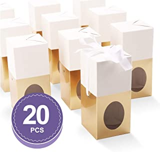 BAKIPACK Truffle Boxes Packaging 5.5x2.5x2.5 inches with Ribbons and Clear Window Chocolate Boxes Candy Boxes Gold 20 Pack