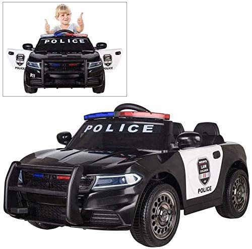 Remote Control Car Toy 12V Dual Drive Children's Electric Can Ride RC Car 2.4G Remote Control Police Car Toy Police Pursuit Car Alarm Flash Walkie Talkie Bumper Double Open Door
