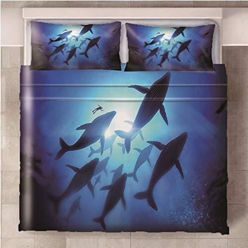 NHBTGH Duvet Cover Ocean Whale Printed Polyester Bedding Set King Size with Zipper Closure + 2 Pillowcases Easy Care Anti-Allergic Soft & Smooth