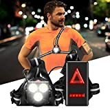 Chest Running Light for Runners & Joggers with Adjustable Beam and Safety Light, All in one Reflective Running Vest Gear,Upgrade Outdoor Night Runing Light with USB Rechargeable and 3 LEDs,500lm