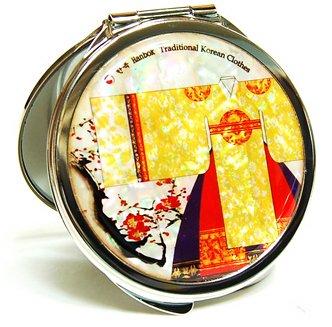 Miroir Compact pour sac à main, portable, miroir cosmétique, un cadeau fait à la main Mother Of Pearl, robe de la Reine