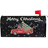 Wamika Merry Christmas Tree Snowflake Red Truck Mailbox Cover Magnetic Standard Size,Winter Santa Claus Letter Post Box Cover Wrap Decoration Welcome Home Garden Outdoor 21' Lx 18' W