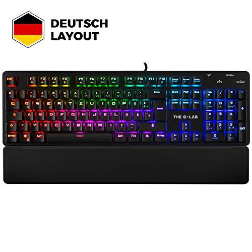 THE G-LAB Keyz RUBIDIUM Meschanische Gaming-Tastatur QWERTZ DE Hochleistung - Gamer-Tastatur Red Switches - RGB-Hintergrundbeleuchtung, Anti-Ghosting, Handballenauflage - PC PS4 Xbox One (Schwarz)