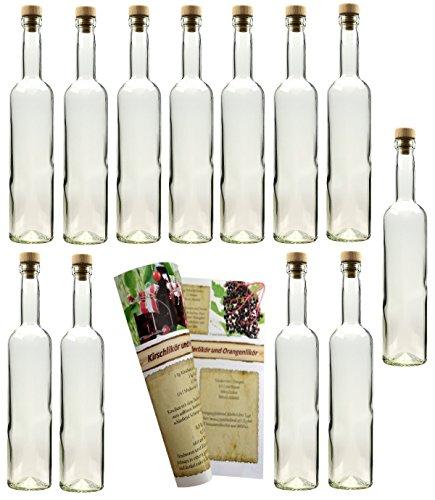 gouveo 12 Leere Glasflaschen Bordeaux 500 ml incl. Holzgriffkorken und Flaschendiscount-Rezeptbroschüre zum selbst Abfüllen Likörflasche Schnapsflasche