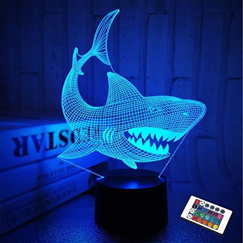 Shark 3D Illusion Nachtlicht Animal Touch Tisch Schreibtischlampe, mit Fernbedienung 16 Farben Optisches USB LED Nachtlicht für Kinder Urlaub Geschenk Raumdekoration