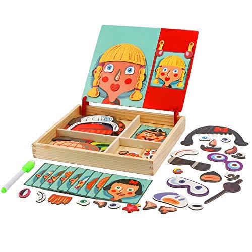FORMIZON Pädagogisches Holzspielzeug, Montessori Lernspielzeug Staffelei Doodle mit Doppelseitiger Tafel, Lernspielzeug für Kinder 3 4 5 Jahre Alt fürJungen und Mädchen Geschenke