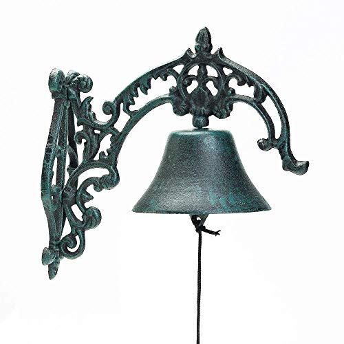 Sungmor Campana a Muro in ghisa per Uso Pesante in Stile Rustico | 10,8 × 9,05 Pollici, Verde Scuro | Aristocratic Logo Campanello per Porte in Ferro battuto
