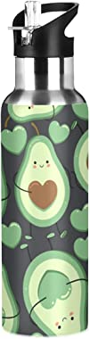 Yasala Water Bottle Avocado Heart Green Coffee Thermos Stainless Steel Insulated Beverage Container 20 oz with Straw Lid BPA-