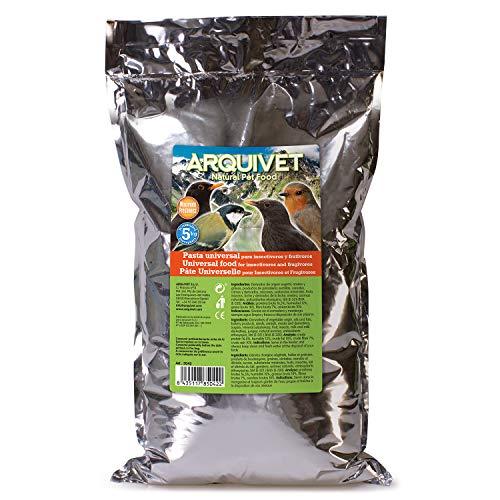 Arquivet Pasta Universal para Insectívoros y Frutívoros - Alimentación para aves - Comida para todo tipo de pájaros - Bayas trituradas y semillas, así como insectos secos y gambas mezclados - 5 kg 🔥