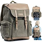 TARION Camera Backpack Canvas Camera Bag Photography Backpack for Women Men Photographer with Laptop Tripod Compartment Waterproof Rain Cover Vintage DSLR SLR Mirrorless Camcorder Camera Bag Backpack