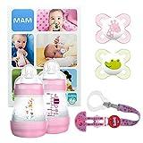 MAM Welcome Baby Starter Set, regalos para bebé, canastilla con 2 biberones anticólicos Easy Start (160 ml), 2 chupetes Start de silicona (0-2 meses) y chupetero, NIÑA