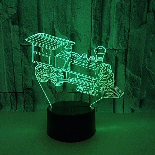3D Illusion Lampe Lokomotiven Led Nachtlicht, Schreibtisch Am Bett Tischlampe 16 Farben Berührungsschalter Usb-Kabel Nachtlampe Für Home Decor Kinder Weihnachten Geburtstag Geschenk